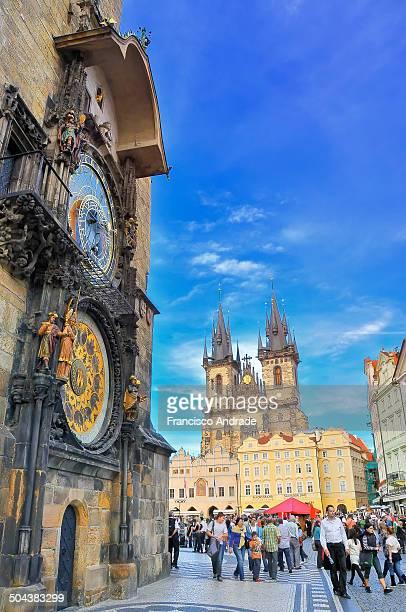 Astronomical Clock and Tyn Church, Prague Czech Republic.
