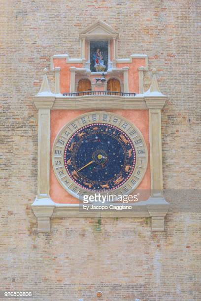 astronomical clock in macerata - jacopo caggiano stock pictures, royalty-free photos & images