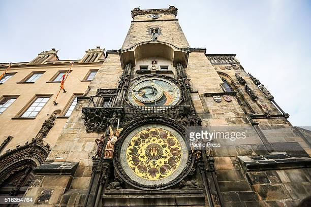 Astronomical clock in Old Town Square in Prague Czech Republic 15th century