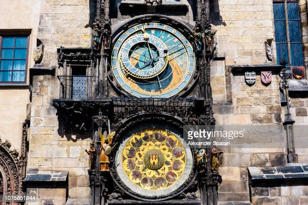 astronomical clock in prague, czech republic - astronomical clock prague stock pictures, royalty-free photos & images