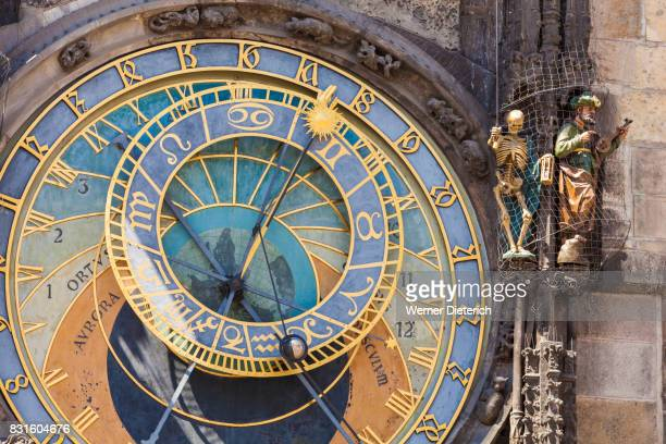 astronomical clock of the old town hall in prague - astronomical clock stock pictures, royalty-free photos & images