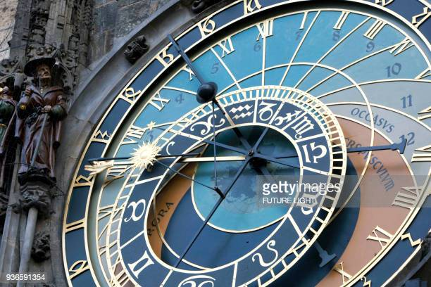astronomical clock (orloj) old town hall, old town square, prague, czech republic - astronomical clock prague stock pictures, royalty-free photos & images
