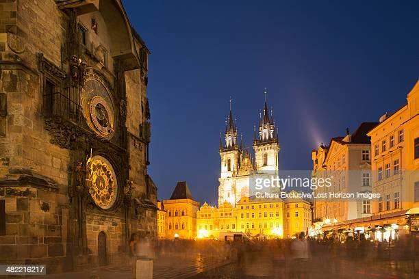 astronomical clock, old town, prague, czech republic - astronomical clock prague stock pictures, royalty-free photos & images