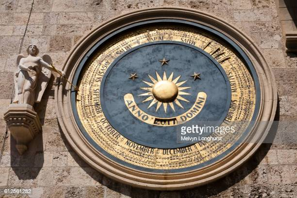 Astronomical clock on clock tower, Messina Cathedral, Piazza Del Duomo, Messina, Sicily, Italy