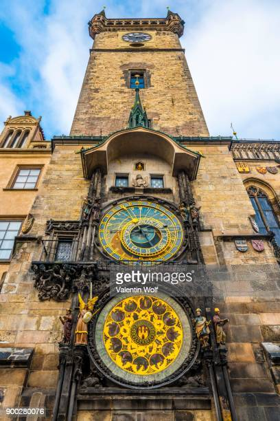 astronomical clock on town hall tower, old town hall, old town square, historic centre, prague, bohemia, czech republic - astronomical clock prague stock pictures, royalty-free photos & images