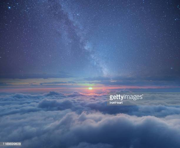 astronomy galaxy landscape view background. - nebula stock pictures, royalty-free photos & images