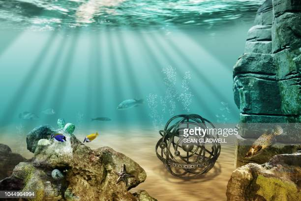 astronomy globe underwater - balls deep stock photos and pictures