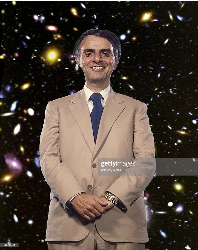 Astrophysicist Carl Sagan poses before a Florida State Universty Distinguished Lecture Series speech at the Turnbull Conference Center in circa 1984 in Tallahassee, Florida.
