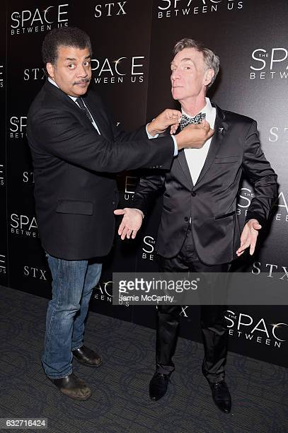 """Astrophysicist Neil deGrasse Tyson and Educator Bill Nye attend a screening of """"The Space Between Us"""" hosted by The Cinema Society at Landmark..."""