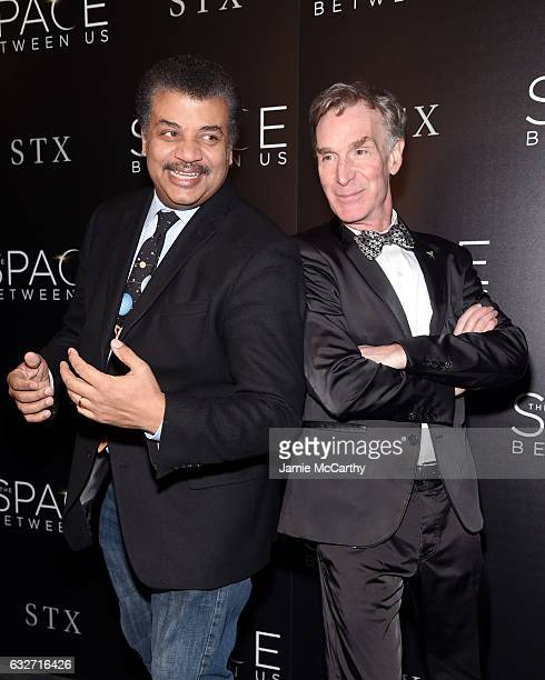 Astrophysicist Neil deGrasse Tyson and Educator Bill Nye attend a screening of 'The Space Between Us' hosted by The Cinema Society at Landmark...