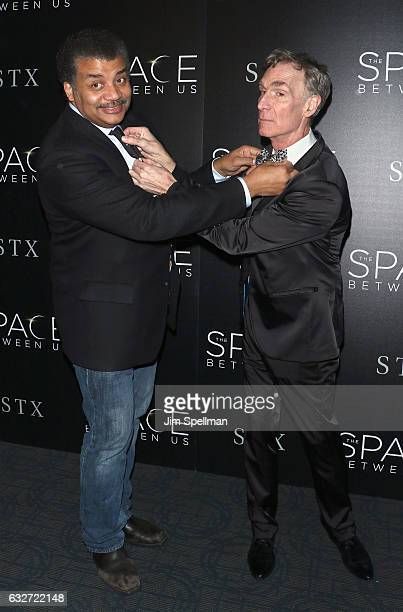 """Astrophysicist Neil deGrasse Tyson and educator Bill Nye attend the screening of """"The Space Between Us"""" hosted by STX Entertainment with The Cinema..."""