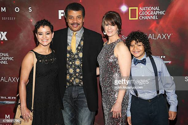 Astrophysicist/author Neil deGrasse Tyson with daugther Miranda Tyson wife Alice Young and son Travis Tyson attend the premiere of Fox's 'Cosmos A...