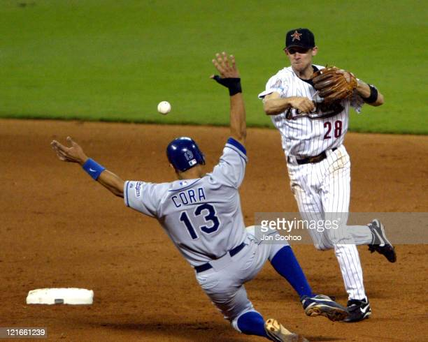 Astros Adam Everett turns double play against the Dodgers Alex Cora in the 6th