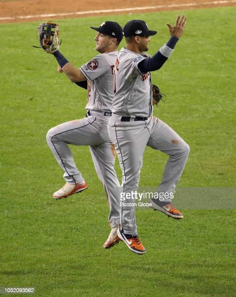 Astros Alex Bregman celebrated with teammate Yuli Gurriel after defeating the Red Sox 72 Boston Red Sox hosted the Houston Astros in Game One of ALCS...