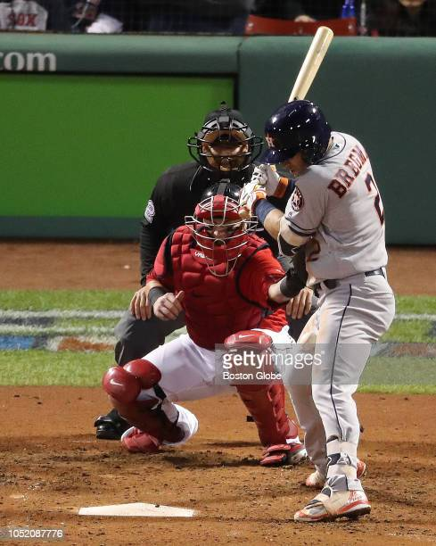 Astros Alex Bregman gets hit by a ball thrown by Red Sox pitcher Joe Kelly in the sixth inning Boston Red Sox hosted the Houston Astros in Game One...