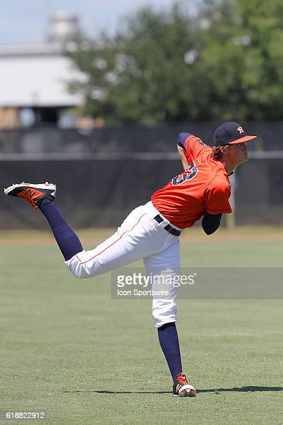 Astros first round pick Forrest Whitley makes his professional debut during the Gulf Coast League game between the GCL Marlins and the GCL Astros at...