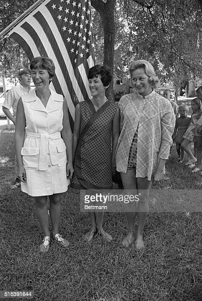 Astrowives Seabrook Texas The wives of the Apollo 11 astronauts get together for a luncheon and swimming party at the home of Mrs Joan Aldrin here...