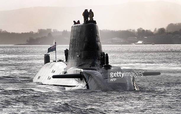 HMS Astute the British Royal Navy's latest nuclear hunter killer submarine sails up Gareloch on the Firth of Cylde to her new base at Faslane in...
