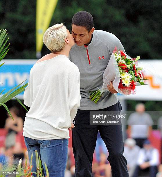 Asuka Cambridge of Japan is congratulated on the podium after winning the Men's 200m during the Night of Athletics on July 16 2016 in HeusdenZolder...