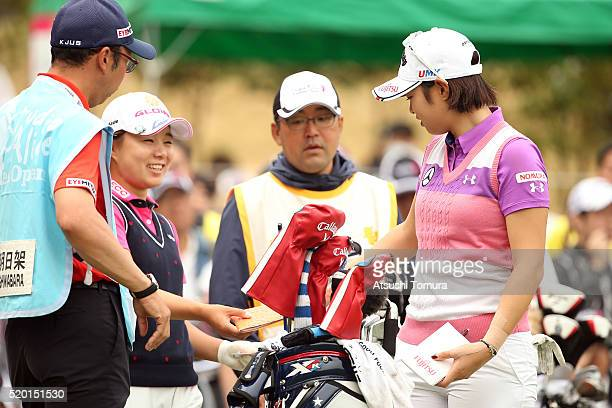 Asuka Kashiwabara and Saki Nagamine of Japan smile during the Studio Alice Open at the Hanayashiki Golf Club Yokawa Course on April 10 2016 in Miki...