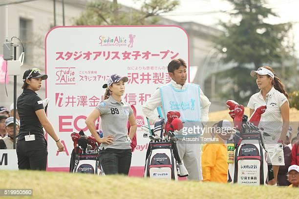 Asuka Kashiwabara Momoko Ueda and Hikari Fujita of Japan prepare to play on the 1st tee ground during the second round of the Studio Alice Open at...