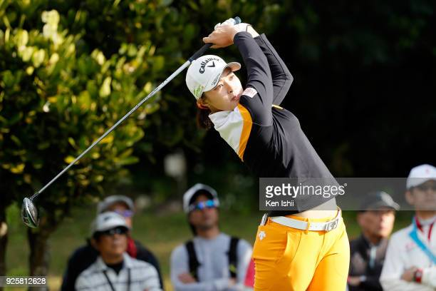 Asuka Kashiwabara of Japan hits a tee shot on the 2nd hole during the first round of the Daikin Orchid Ladies at Ryukyu Golf Club on March 1 2018 in...
