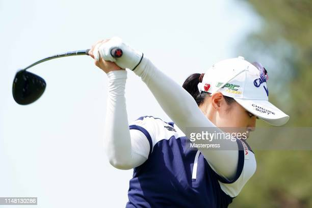 Asuka Kashiwabara of Japan hits a tee shot on the 8th hole during the second round of the World Ladies Championship Salonpas Cup at Ibaraki Golf Club...