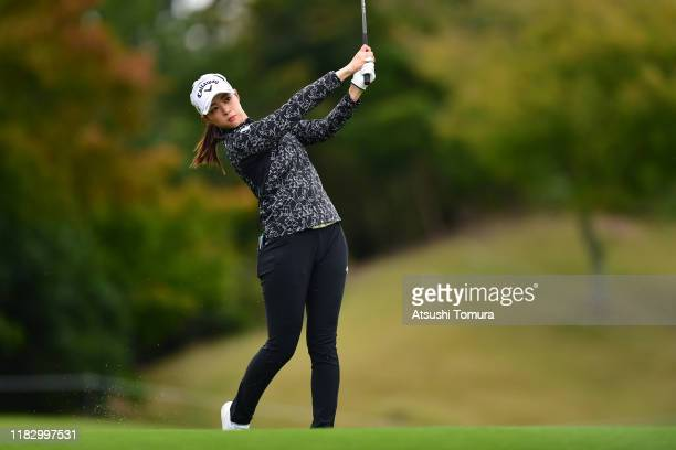 Asuka Kashiwabara of Japan hits her second shot on the 11th hole during the first round of the Nobuta Group Masters GC Ladies at Masters Golf Club on...