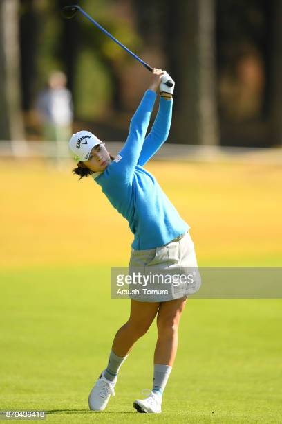 Asuka Kashiwabara of Japan hits her second shot on the 17th hole during the final round of the TOTO Japan Classics 2017 at the Taiheiyo Club Minori...