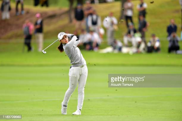 Asuka Kashiwabara of Japan hits her second shot on the 18th hole during the final round of the Nobuta Group Masters GC Ladies at Masters Golf Club on...