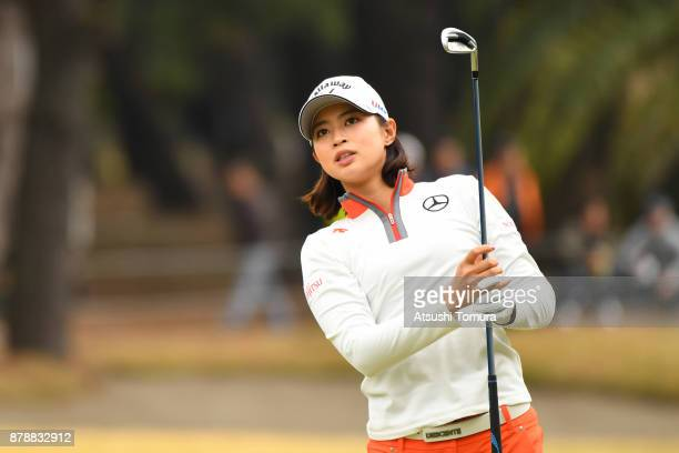 Asuka Kashiwabara of Japan hits her second shot on the 18th hole during the third round of the LPGA Tour Championship Ricoh Cup 2017 at the Miyazaki...