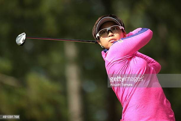Asuka Kashiwabara of Japan hits her second shot on the 7th hole during the third round of Japan Women's Open 2015 at the Katayamazu Golf Culb on...