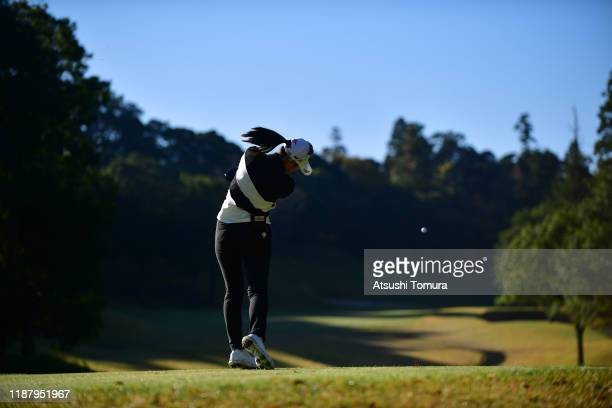 Asuka Kashiwabara of Japan hits her tee shot on the 13th hole during the second round of the ItoEn Ladies at Great Island Club on November 16 2019 in...