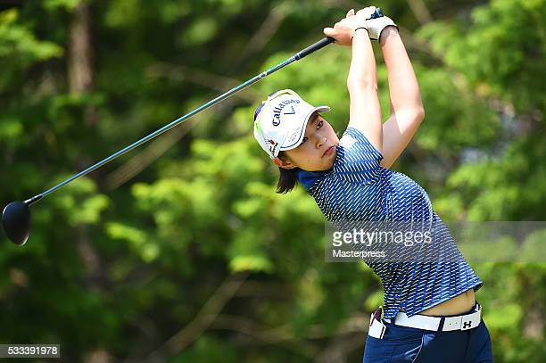 Asuka Kashiwabara of Japan hits her tee shot on the 18th hole during the final round of the Chukyo Television Bridgestone Ladies Open at the Chukyo...