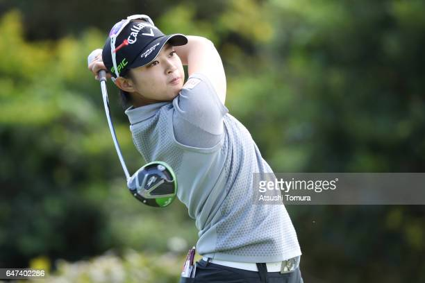 Asuka Kashiwabara of Japan hits her tee shot on the 18th hole during the second round of the Daikin Orchid Ladies Golf Tournament at the Ryukyu Golf...