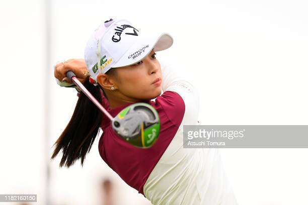 Asuka Kashiwabara of Japan hits her tee shot on the 1st hole during the final round of Fujitsu Ladies at Tokyu Seven Hundred Club on October 20 2019...