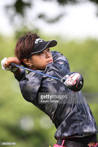 Asuka Kashiwabara of Japan hits her tee shot on the 1st hole during the second round of the meiji Cup 2015 at the Sapporo Kokusai Country Club on...