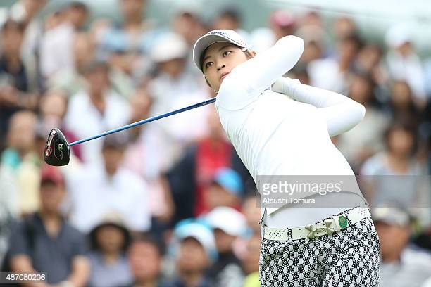 Asuka Kashiwabara of Japan hits her tee shot on the 1st hole during the final round of the Golf 5 Ladies Tournament 2015 at the Mizunami Country Club...