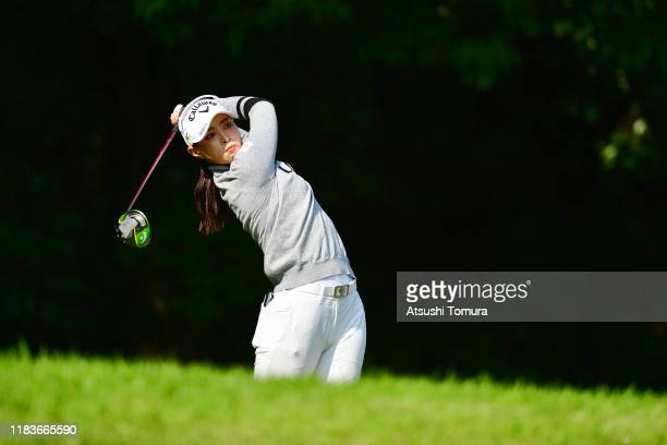 Asuka Kashiwabara of Japan hits her tee shot on the 2nd hole during the final round of the Nobuta Group Masters GC Ladies at Masters Golf Club on...