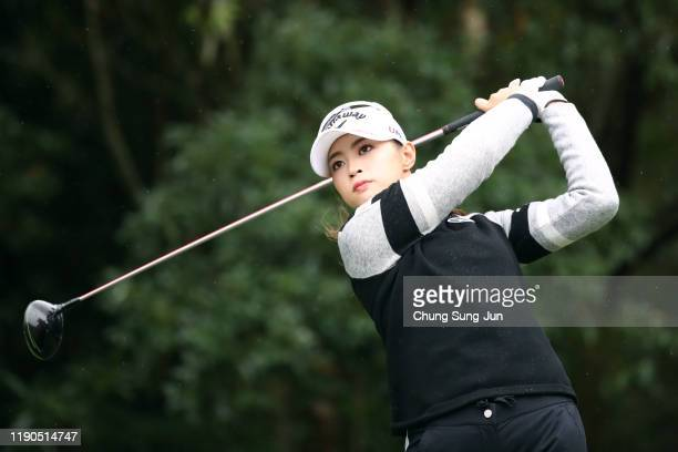 Asuka Kashiwabara of Japan hits her tee shot on the 2nd hole during the first round of the LPGA Tour Championship Ricoh Cup at Miyazaki Country Club...