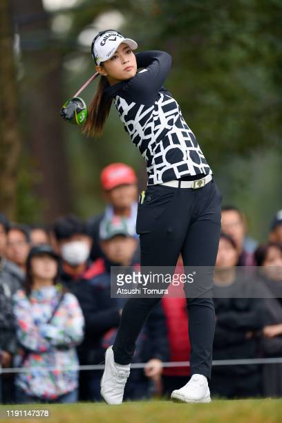 Asuka Kashiwabara of Japan hits her tee shot on the 2nd hole during the final round of the LPGA Tour Championship Ricoh Cup at Miyazaki Country Club...