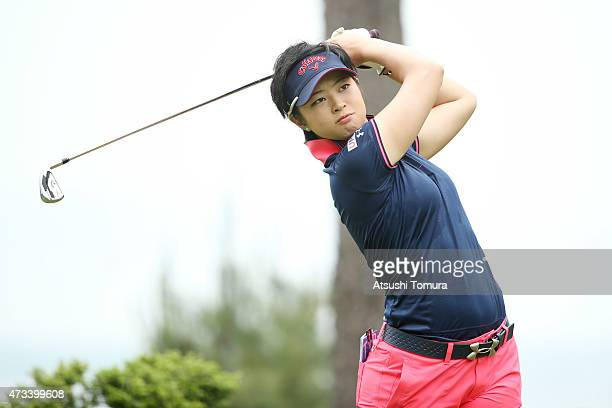 Asuka Kashiwabara of Japan hits her tee shot on the 2nd hole during the first round of the HokennoMadoguchi Ladies at the Fukuoka Country Club Ishino...