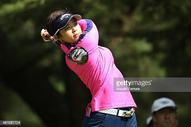 Asuka Kashiwabara of Japan hits her tee shot on the 3rd hole during the third round of Japan Women's Open 2015 at the Katayamazu Golf Culb on October...