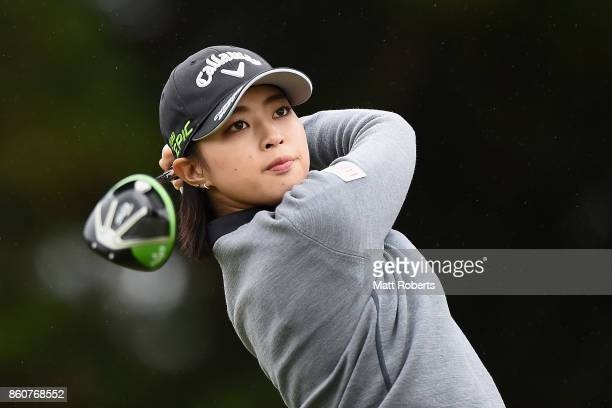 Asuka Kashiwabara of Japan hits her tee shot on the 3rd hole during the first round of the Fujitsu Ladies 2017 at the Tokyu Seven Hundred Club on...