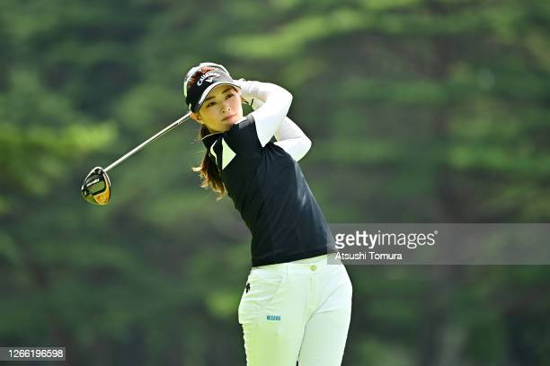 Asuka Kashiwabara of Japan hits her tee shot on the 4th hole during the first round of the NEC Karuizawa 72 Golf Tournament at the Karuizawa 72 Golf...