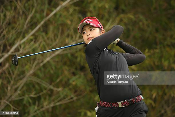 Asuka Kashiwabara of Japan hits her tee shot on the 5th hole during the second round of the TPoint Ladies Golf Tournament at the Wakagi Golf Club on...