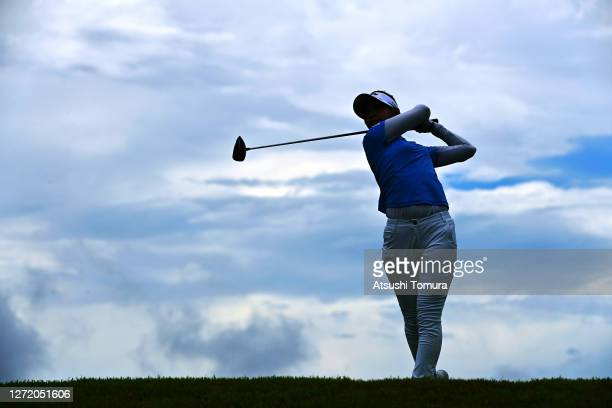 Asuka Kashiwabara of Japan hits her tee shot on the 7th hole during the third round of the JLPGA Championship Konica Minolta Cup at the JFE...