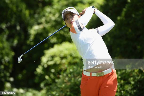 Asuka Kashiwabara of Japan hits her tee shot on the 7th hole during the second round of the HokennoMadoguchi Ladies at the Fukuoka Country Club...