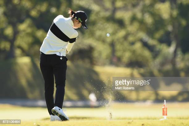 Asuka Kashiwabara of Japan hits her tee shot on the 7th hole during the final round of the Itoen Ladies Golf Tournament 2017 at the Great Island Club...