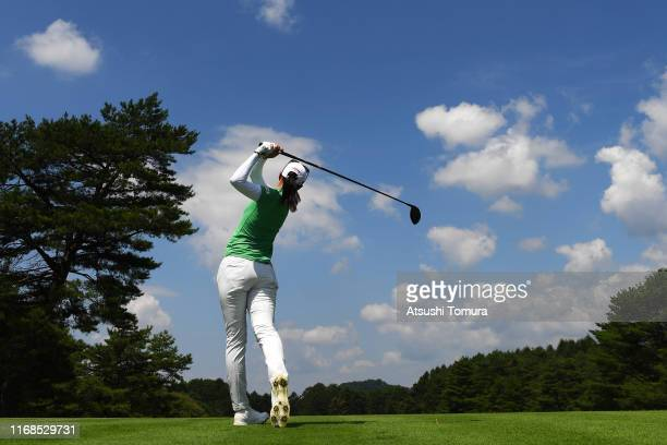 Asuka Kashiwabara of Japan hits her tee shot on the 9th hole during the second round of Karuizawa 72 Golf Tournament at Karuizawa 72 Golf North...